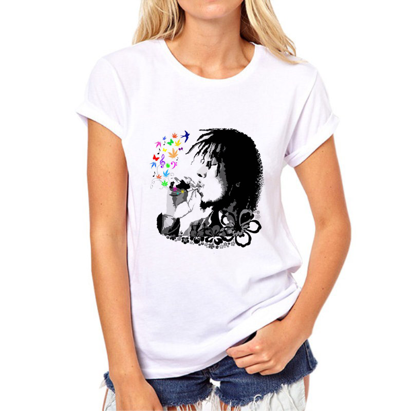 Newest Style Bob Marley Prints Letter t shirts Women Hip Hop Rock Tee Tops t shirts Male ...