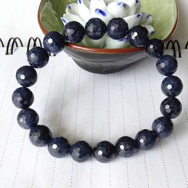 Genuine Natural Blue Sapphire Gemstone Stretch Faced Cut Round Bead 7mm 8mm 9mm 10mm Sapphire Woman