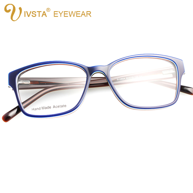 IVSTA G1280A Handmade Acetate Optical Frame Cat Eye Glasses for Women Butterfly Shadow Color can custom to lenses with degree