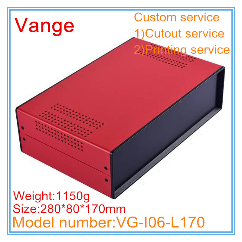1pcs lot chassis project box Iron metal material enclosure shell 280 80 170mm for control electronic