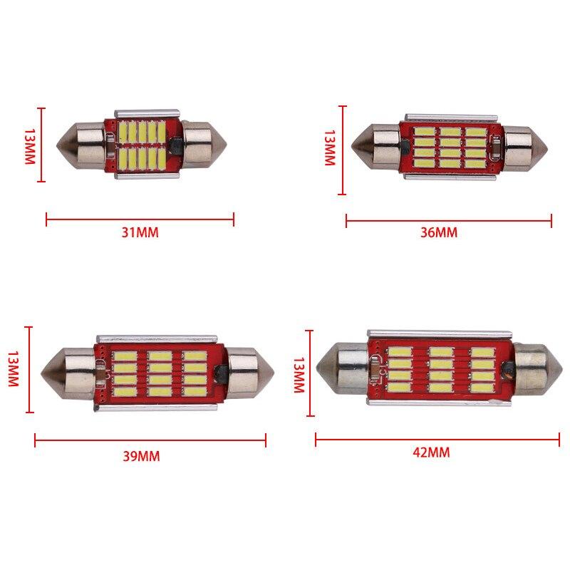 1 шт. 31 мм 36 мм 39 мм 41 мм C5W C10W Canbus Нет Ошибка Авто гирлянда света 12 SMD 4014 светодиодный салона Купол Лампа настольная лампа DC 12 В