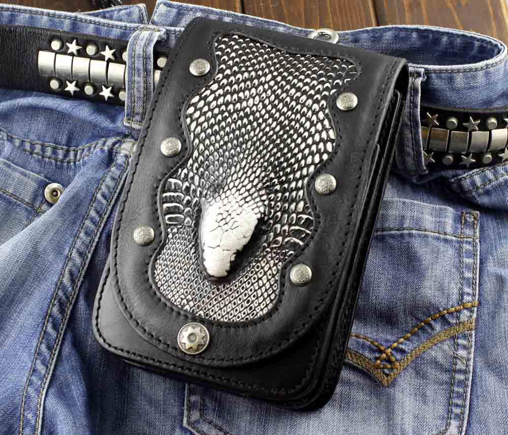 남자 블랙 정품 가죽 소형 지갑 컨버터블 허리 가방 바이커 오토바이 벨트 파우치-에서크록스 바디 백부터 수화물 & 가방 의  그룹 1