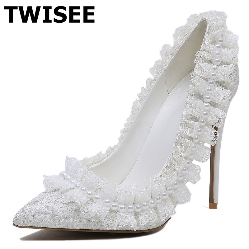 TWISEE Pointed Toe Velvet Women Pumps zapatos mujer Super High Heels 12cm Thin Heel Pumps Sweet High Heel Shoes Valentine Shoes craylorvans top quality 8 10 12cm women pumps new fashion leopard color pointed toe high heel wedding shoes ultra thin high heel