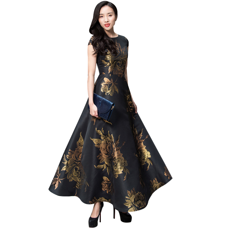 Flare De Bal Femmes Broderie Fleurs Vintage Soirée Robes Longues Dames O Cou Maxi Robe Princesse Robes DL1091