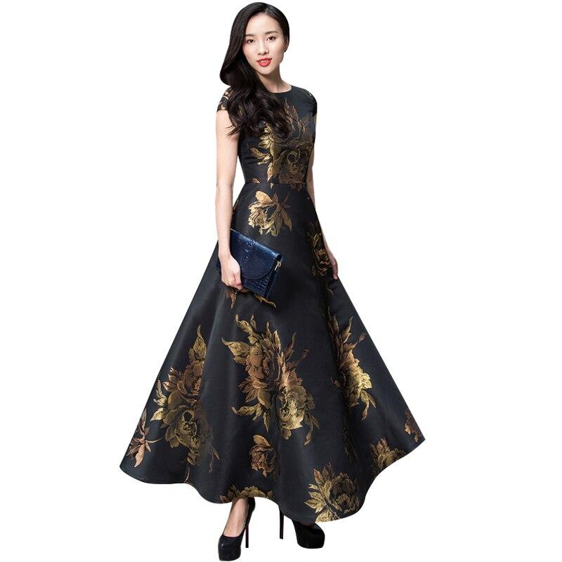 Flare Prom femmes broderie fleurs Vintage soirée robes longues dames O cou Maxi robe princesse robes DL1091