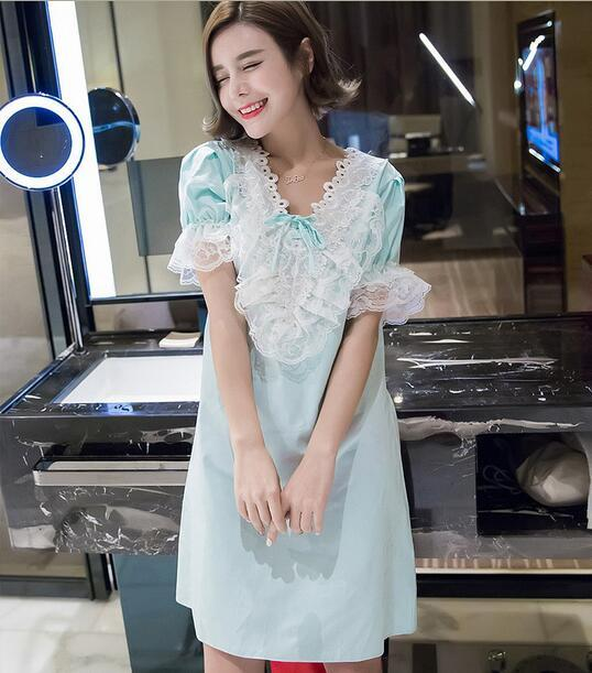 Camisola de Algodão Para as mulheres verão doce lace bow nightgowns palácio Solto Noite vestido T359