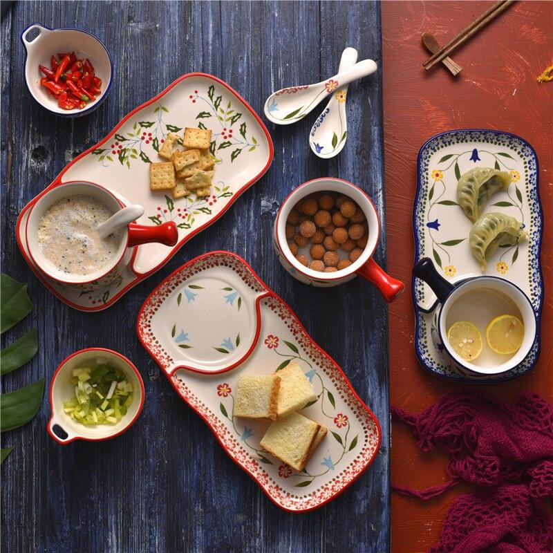 EECAMAIL Holly rouge festif fait à la main fleur en céramique émaillée petit déjeuner plat avec poignée bol lait bol plateau deux ensembles nourriture Couple