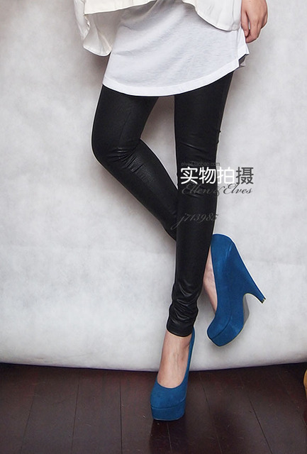 Fashion Womens Faux Leather High Waist Leggings Pants Tights