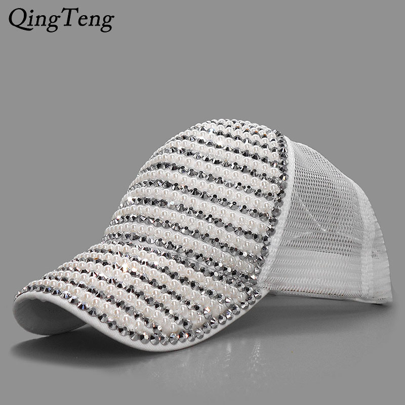 6fb82ba2aed Female ponytail cap Luxury Rhinestone Baseball Caps Women Summer Girl With  Mesh Snapback Hat Casual Sun Design Cap Pearl Gorras -in Baseball Caps from  ...