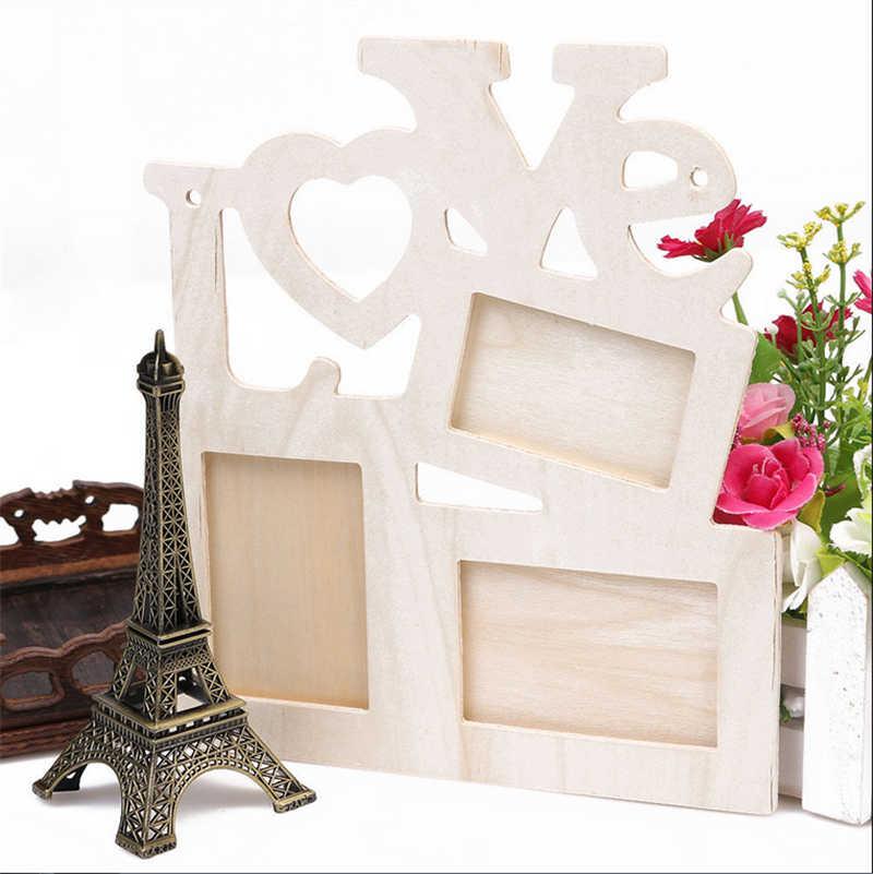 Marco de fotos de madera de amor hueco DIY Rahmen decoración del hogar Collage de pared de regalo marco de fotos de pared