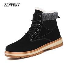 ZENVBNV New Natural Wool Men Winter Boots Short Plush Warmest Cow Suede Russian Style Men Snow Boots Classic Lace Up Warm Hombre