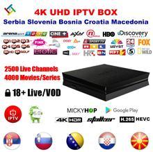 EX-YU Eslovênia Sérvia Da Bósnia A Croácia a Macedónia CAIXA de IPTV Ao Vivo 2500 TV 4000 VOD 4 K TV BOX com Mickyhop SISTEMA OPERACIONAL Android GooglePlay