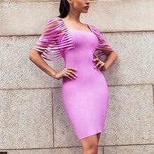 Women Sexy Fringe Bandage Dress Lavender Vestidoes Wholesale Bodycon Celebrity Party Dresses Club