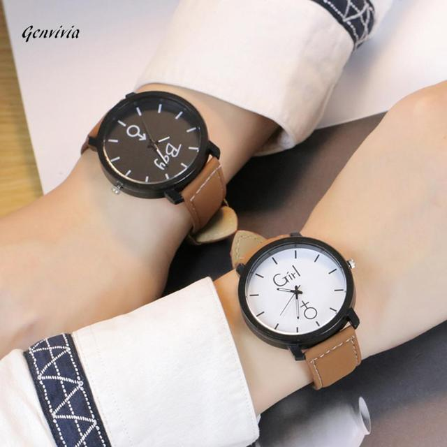 GENVIVIA Fashion Lover's Watch 2019 Hot Sale Women Mens Simple BOY GIRl Letters