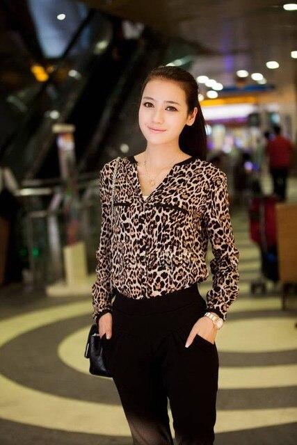 Exclusivo xs-5xl, Mulheres estrela Leopard Chiffon blusa Y3461
