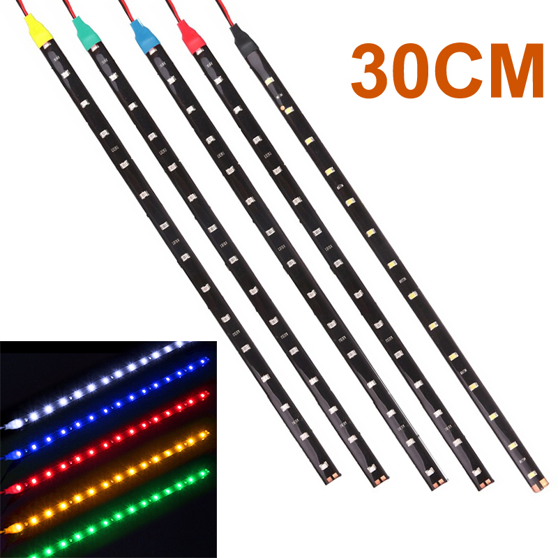 1x 30cm Car LED Strip Light High Power 12V 15SMD Car DRL Lamp Waterproof LED Flexible Daytime Running Light White Blue Green Red