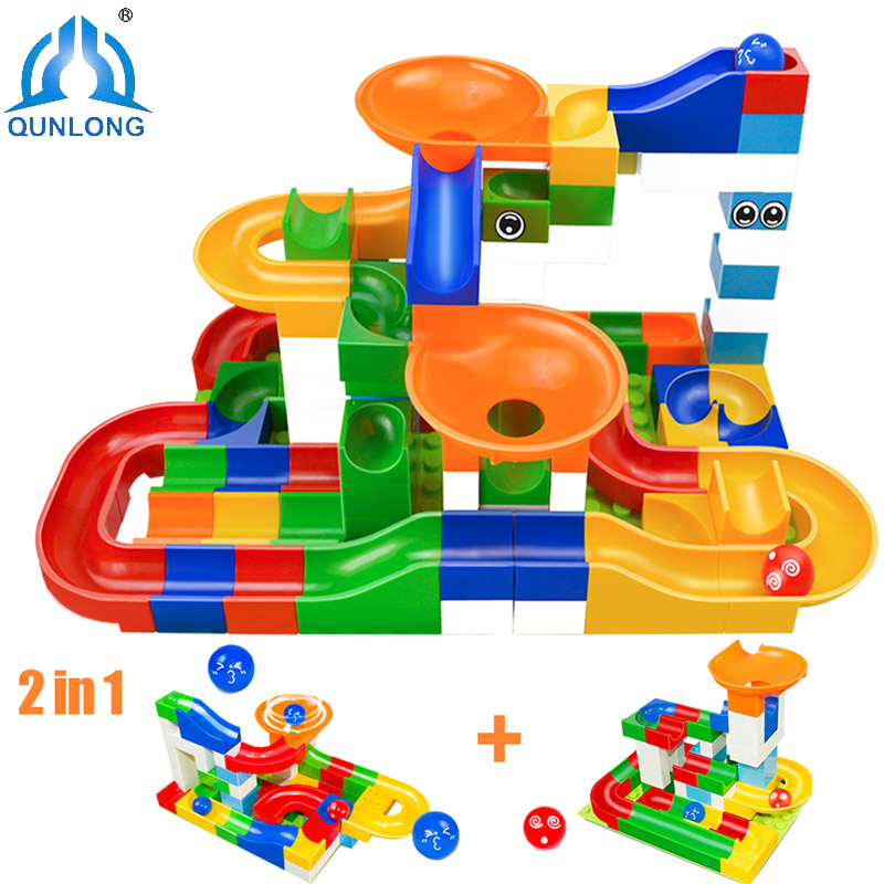 Qunlong 104pcs DIY Construction Race Run Maze Balls Track Building Blocks Educational Toys For Children Compatible Legoe Duplo glow race track bend flex glow in the dark assembly toy 112 160 256 300pcs slot race track 1pc led car puzzle educational toys