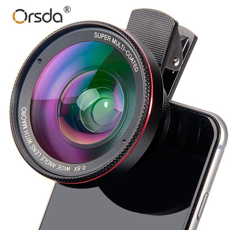 Orsda 4K HD Super 15X 0.6X Lente Grande Angular Macro Lente Anti-Distorção Óptica de Vidro Para Celular Telefone câmera para Smartphones