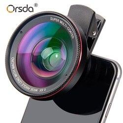 Orsda 4K HD Super 15X Macro Lens for Smartphone Anti-Distortion 0.6X Wide Angle Lens Optical Glass Mobile Phone Camera Lente Kit
