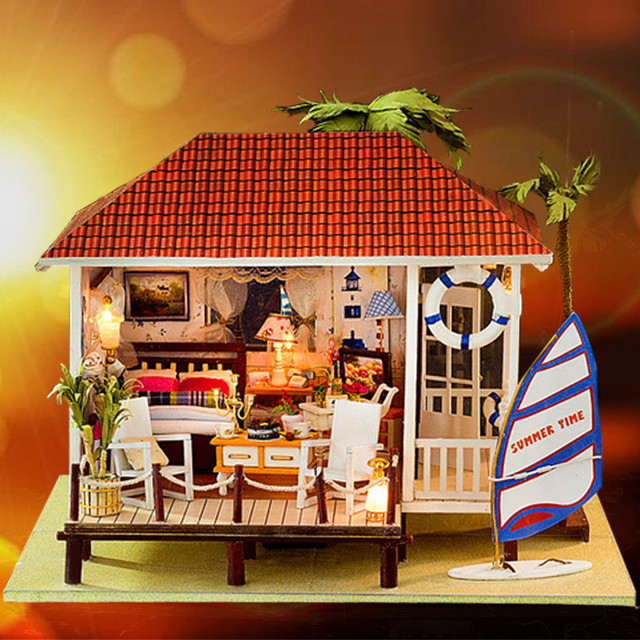 Diy Wooden Doll House Holiday Beach House Model Dollhouse Furniture