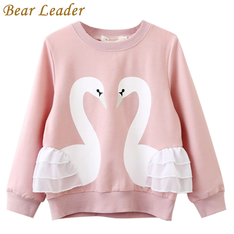 Bear Leader Girls T-Shirt 2018 Autumn Brand Baby Girls Full T-Shirt Cute Cartoon Bird Lace Shirts Children Clothing Blouse