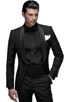 קלאסי Mens חליפות חתונה שחורה צעיף סאטן דש חתן Tuxedos השושבינים חליפת האיש הטובה ביותר (Jacket + מכנסיים + העניבה + אבנט) B655