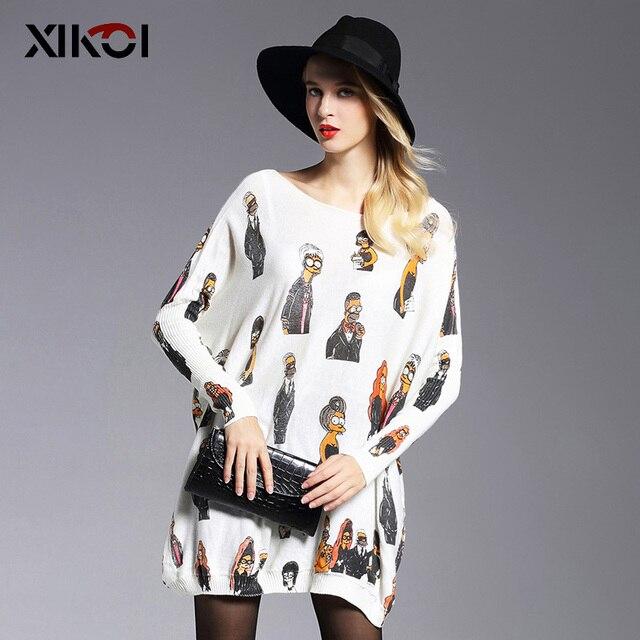 2016 Nuevo Otoño Largo Suéter de Las Mujeres Ropa Casual Novedad Suéteres Suéteres de Las Mujeres de Moda de Impresión Sudadera Ropa