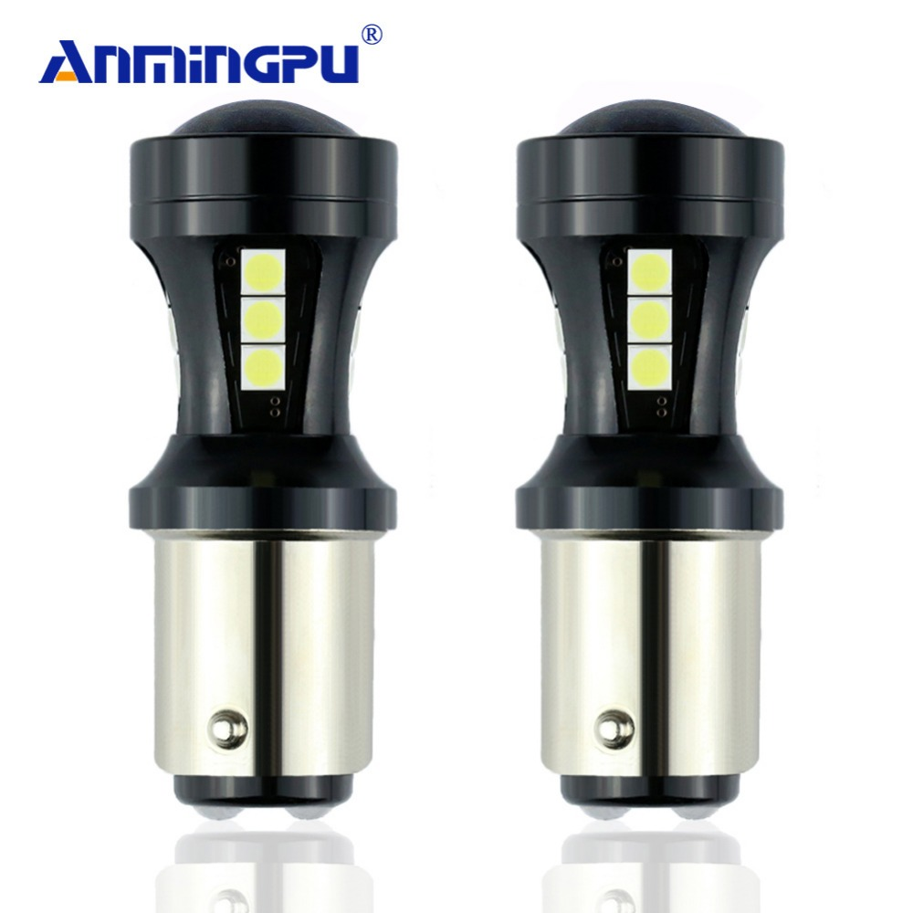 ANMINGPU Signal Light 2x P21/5w Led Red White Yellow Bay15d 12V Led Red 1157 Super Bright Canbus Brake Stop Reverse DRL Light cree q5 led signal light yellow white red torch bright light signal lamp for 1x18650 or 3 x aaa battery flashlight led