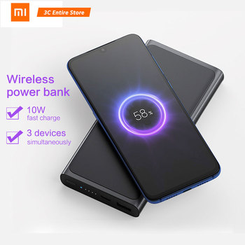 Xiaomi Wireless Power bank 10000mAh Qi Fast Wireless Charger PLM11ZM USB Type C Mi Powerbank 10000Portable Charging Power bank 1
