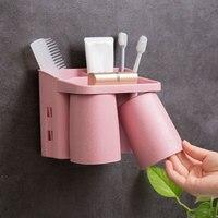 Casa parede pendurado titular escova de dentes com boca copo escova de dentes creme dental pente shaver rack de armazenamento do banheiro organizador ferramentas