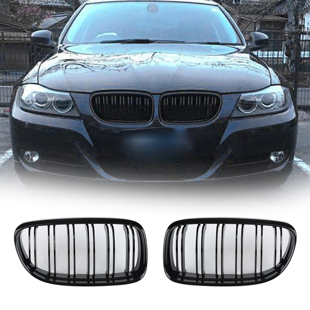 Liplasting 2X Front Kidney Grille Dual Slat Glossy Black Grill For BMW E90 318 320i 2008-11 x5 x6 m performance sport design m color front grill dual slat kidney custom auto grille fit for bmw 2015 2016 f15 f16 suv