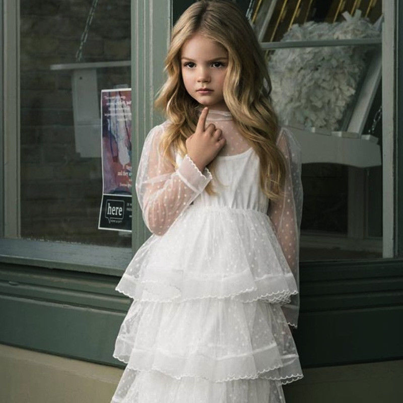 Girl Dress Party Princess Elegant Kids Dot Tulle Lace Wedding-See-Through Cute New-Fashion