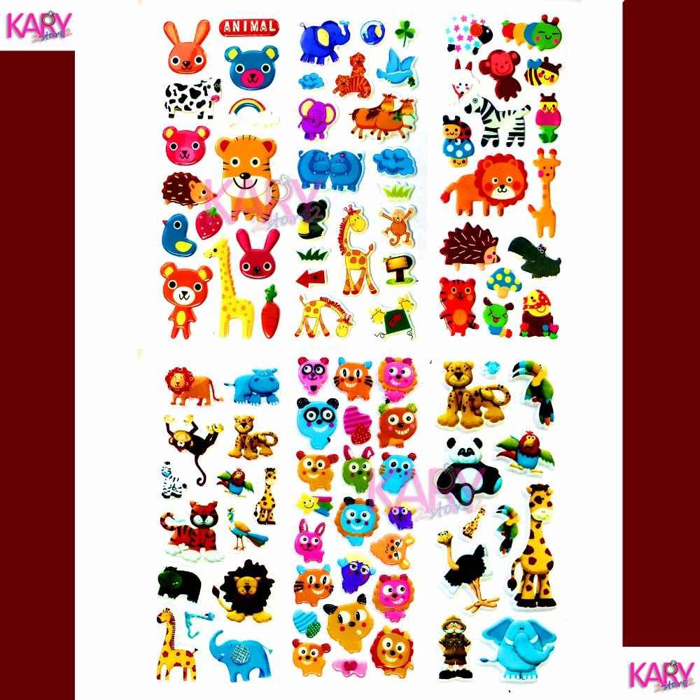 Bonito Selvagem Da Vida Selvagem Safari Park Animais Scrapbooking Bolha Adesivos Inchados 21 6 Folhas Recompensa Emoji Kawaii Crianças Brinquedos Para Crianças