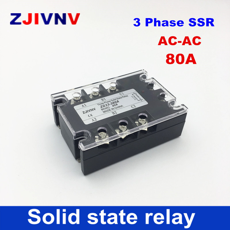 High quality 80A three-phase solid state relay 80-250VAC control 480VAC 3 Phase SSR AC-AC free shipping zyg 3a4880 80a ac control ac ssr three phase solid state relay