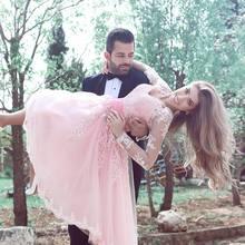 2016 neue Tüll Appliques Cocktailkleider Langarm Cocktailkleid A-Line Kurzes Kleid Für Hochzeit