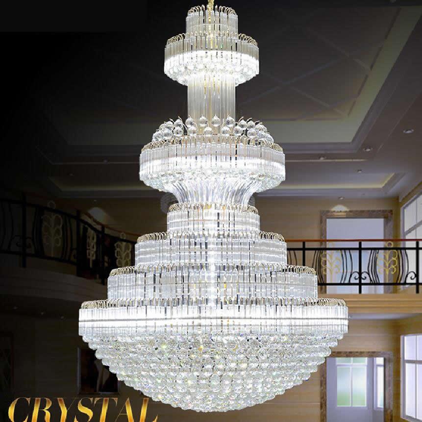 Large Led Modern Chandelier Lighting Luxury K9 Gold Crystal Chandeliers Lustre Living Room Lobby Hotel Engineering