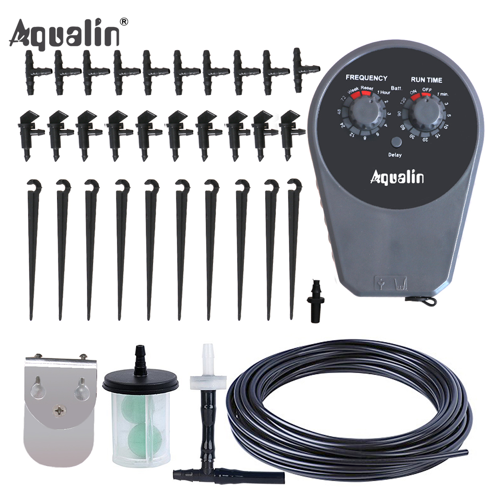 Automatic Drip Irrigation Controller Set Garden Water Timer Watering Kit with Built in High Quality Membrane Pump #22077|water timer|garden water timer|irrigation controller - title=