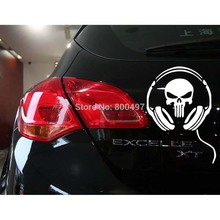 Funny Skull Car Stickers Earphone Ghost Decoration Decal for Toyota Renault Chevrolet Volkswagen Tesla Opel Hyundai Kia Lada