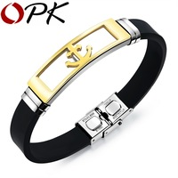 OPK Anchor Design Man Bracelets Genuine Silicone Fashion Stainless Steel Length Adjustable 3 Colors Men Bangles