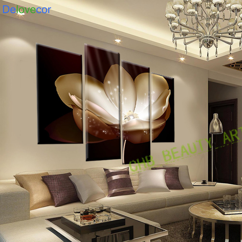 4 panel gold flower printed painting canvas picture wall - Designer wall paints for living room ...