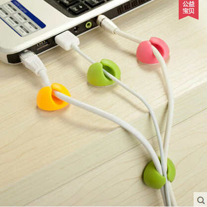 [4Y4A] 6pcs/set candy-colored spherical lovely finishing headphone cable power line table clean container stationery