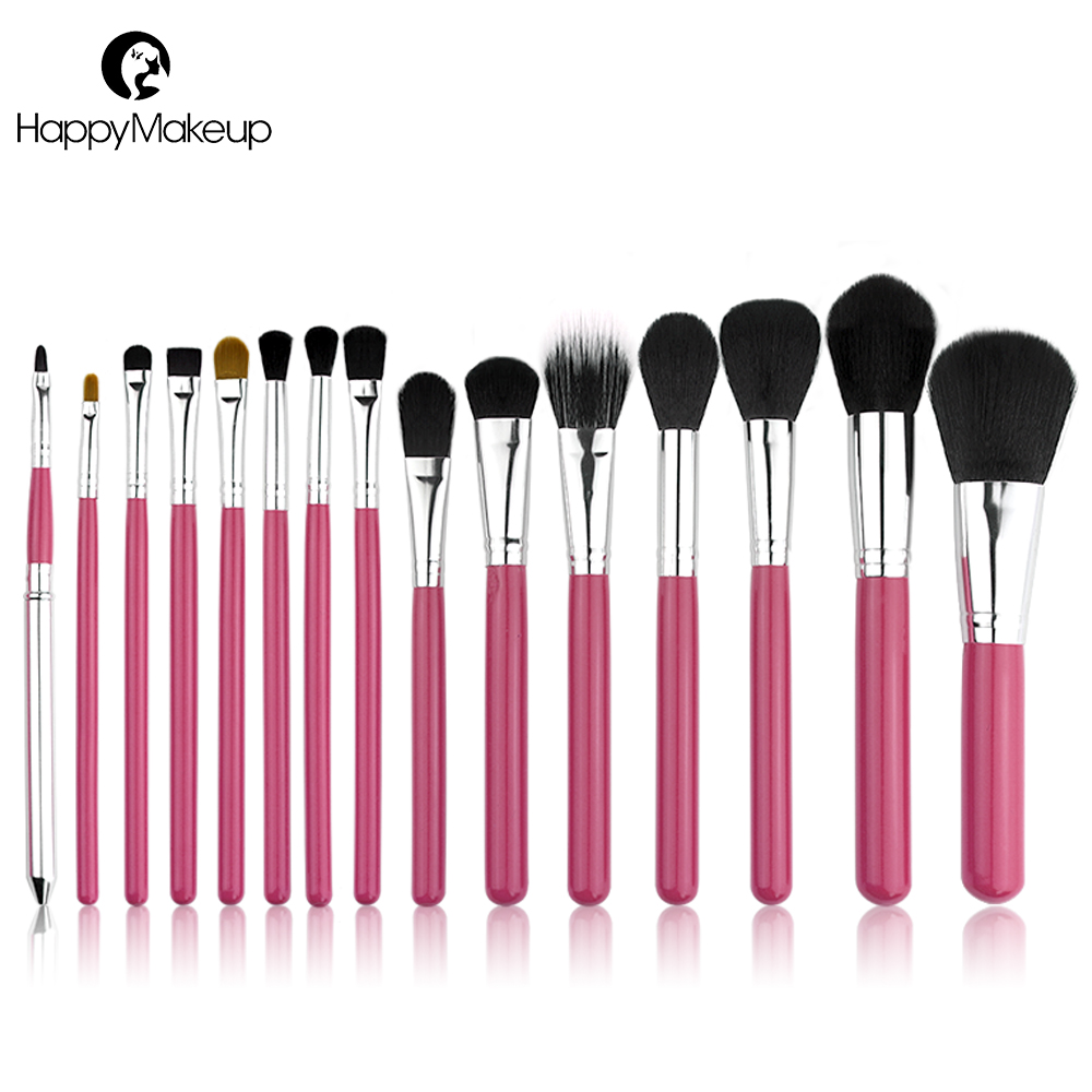 HAPPY MAKEUP 15pcs Professional Makeup Brushes Set Cosmetic Synthetic Hair Powder Foundation Blush Lip Eyeshadow Eyeliner Brush 11pcs make up foundation eyebrow eyeliner blush cosmetic concealer synthetic hair brushes orange makeup brushes set professional