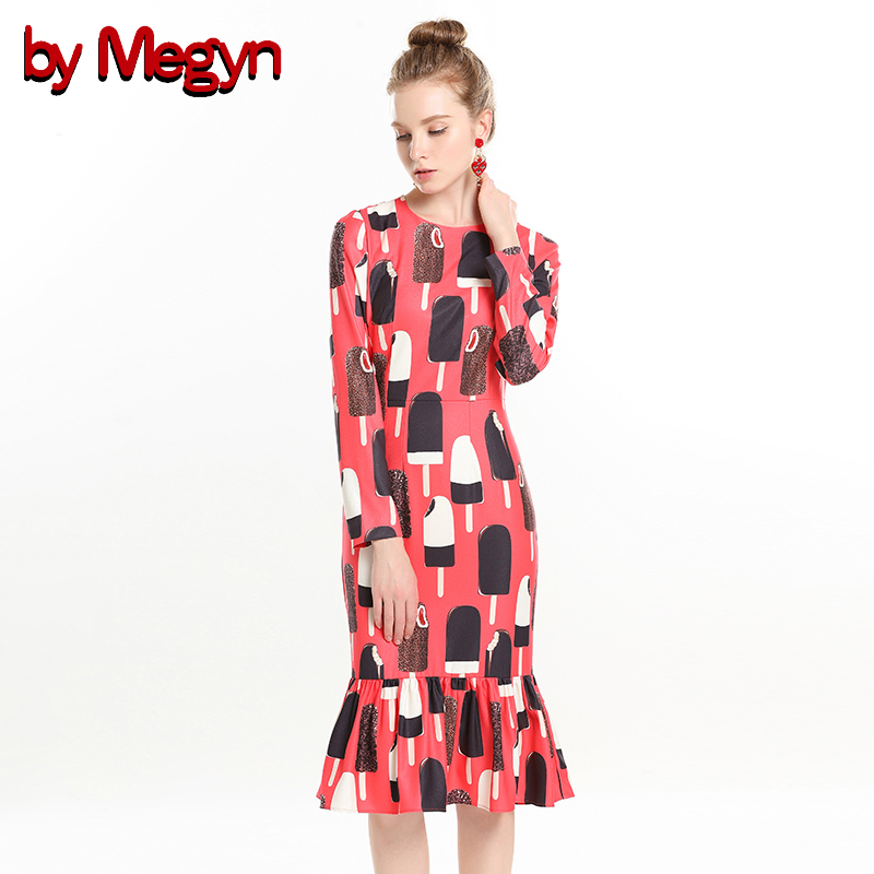 Party Rouge À Femme Megyn Pour Hiver Longues De Glacée Robe Robes Par Femmes Club Moulante Manches Red Impression Crème Trompette Night 2018 X7qZwHR