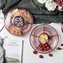 6 Grid Embossed Dried Fruit Plate Household Snack Tray Candy Dish With Cover Home New Year Christmas Food Container