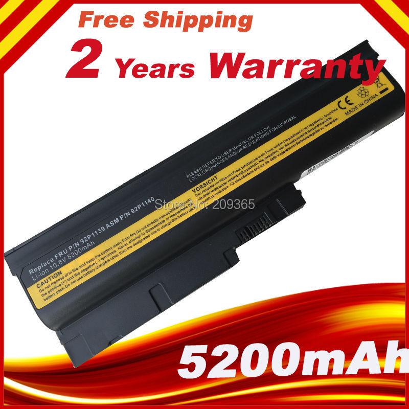 5200mAh Battery for IBM Lenovo ThinkPad R60 R60e R61 R61e R61i T60 T60p T61 T61p R500 T500 W500 SL400 SL500 SL300