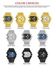 Relogio Top Brand TEMEITE Big Quartz Watches Men Military Waterproof Business Wristwatch Luxury Gold Blue Steel Clock Masculino