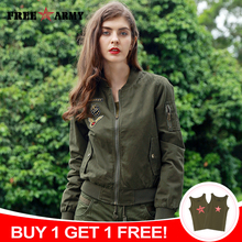 FREE ARMY Brand New Autumn Woman Bomber Jackets Army Green L