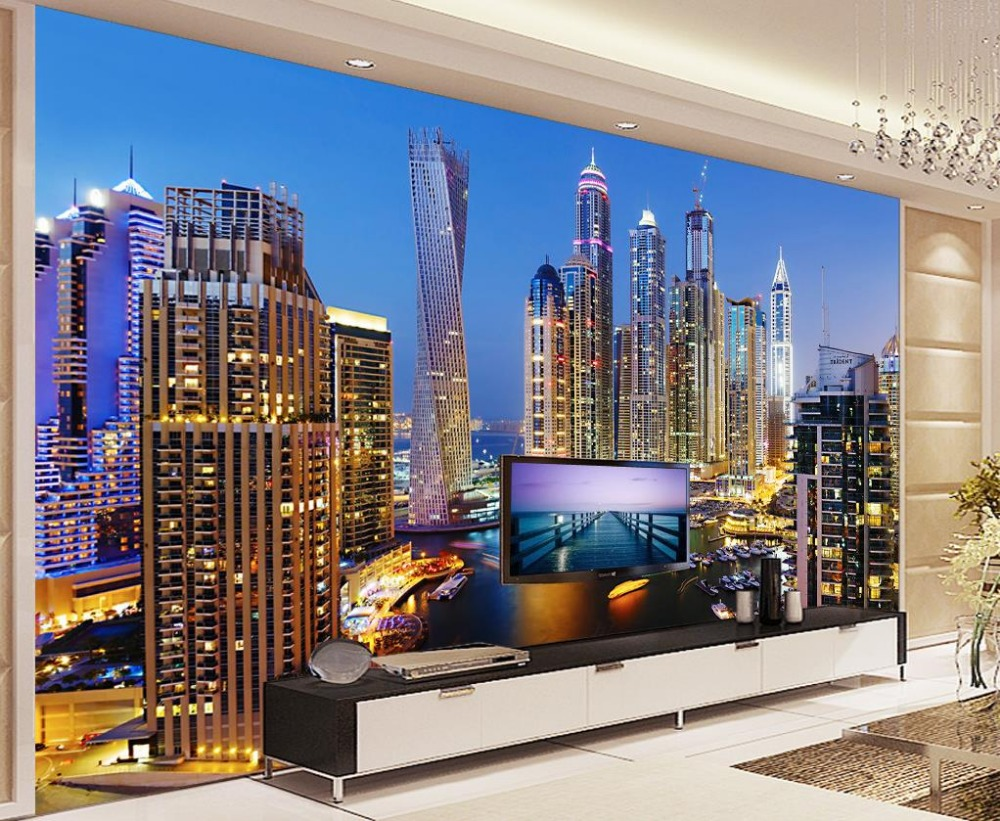 Online Shop 3d Wallpaper For Room Dubai Night View Living Background Wall Photo Customized