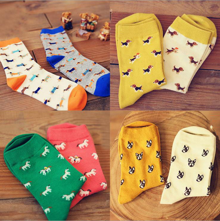 Caramella Animal Socks Sausage Dog Dachshund Ido Hvalp Hush Pup Puppy Huisdier Pet Szczeniak Retail Support Wholesale Zoo WZ032