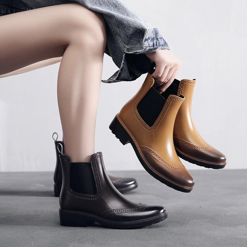 Mujeres Brogue tobillo lluvia Chelsea botas con banda elástica resbalón en impermeable antideslizante inferior al aire libre señoras zapatos Mujer